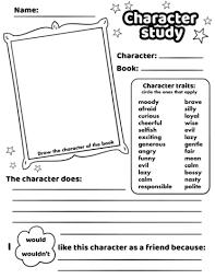 character study worksheet printable template free printable