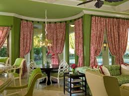 Pink And Teal Curtains Decorating Fresh Green Wall Color With Pink Printed Curtain For Stunning
