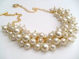 chunky pearl crystal necklace images Pearl beaded necklace bridal jewelry cluster necklace chunky jpg