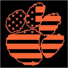 Clemson Flags Clemson Tigers Paw Decal Sticker America American Flag Ebay