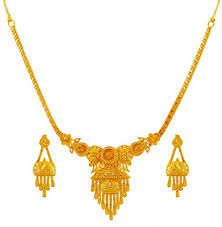 gold necklace with earrings images 22k gold necklace set ajns60182 22k gold fancy light necklace jpg
