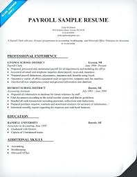Payroll Resume Template Payroll Clerk Resume Sample Supervisor Sample Resume Payroll