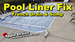 patio drainage problem french drain and sump pump fixes pool liner problem youtube