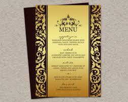 menu card templates menu etsy