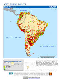 Maps South America by Maps Settlement Points V1 Sedac