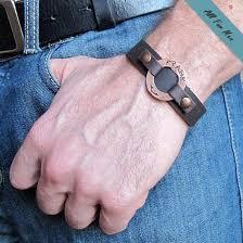 personalized cuff bracelet mens custom leather wrist band