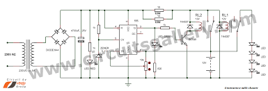 simple emergency light circuit with automatic charger circuits