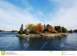 one island in thousand islands region in fall of new york state