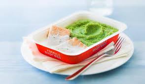 plat cuisiné picard saumon sauce citron basilic purée de légumes verts et pommes de