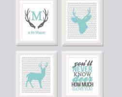Deer Nursery Decor Items Similar To Deer Nursery Set Of 3 Baby Boy Deer Nursery