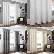 Cream Embroidered Curtains Harrogate Embroidered Leaf Fully Lined Voile Curtains White Cream