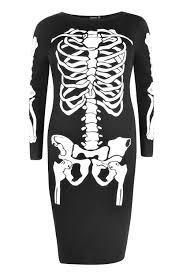 Halloween Skeleton Top by Boohoo Plus Ellie Skeleton Printed Halloween Midi Dress In Black