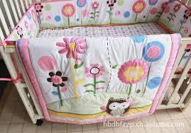 Baby Boy Bedding Crib Cotton Baby Bedding Set Embroidery Owl Sunflower Baby