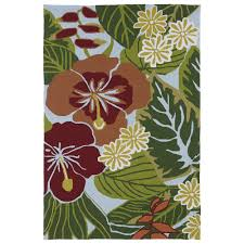 shop matira blue tropical garden 5ft x 7ft 6in outdoor rug
