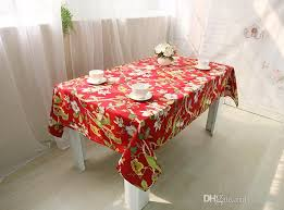 farmhouse style table cloth red printed cotton wedding table cloth with bird flowe tree