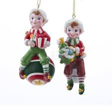 1 set 2 assorted elf on ball and with tree blow mold christmas