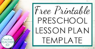 lesson plan template preschool preschool lesson plan template
