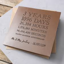 3rd wedding anniversary gift personalised time card leather 3rd anniversary gettingpersonal