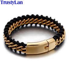 leather wrap bracelet men images Trustylan gold color stainless steel leather bracelet men 18mm jpg