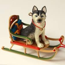 1999 xmas ornament sled dog siberian husky malamute race american