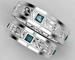 blue diamond wedding rings princess cut blue diamond matching wedding ring set vidar