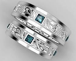 diamond wedding ring sets princess cut blue diamond matching wedding ring set vidar