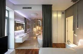 open floor plan bathroom lighting details create drama in modern open plan apartment open