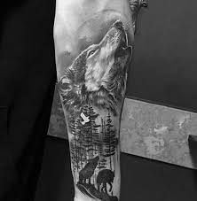 trends shaded howling wolf inner forearm