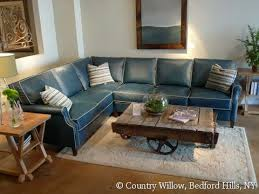 Blue Leather Sectional Sofa Blue Leather Sectional With Contrast White Piping Country Willow