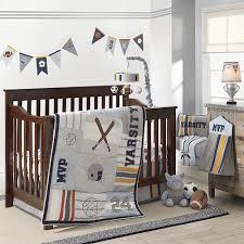Sports Theme Crib Bedding Lambs Varsity Gray Blue Sports 4 Crib Bedding Set
