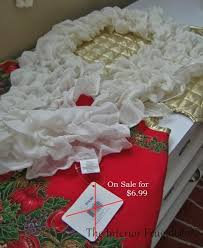 how to make an easy ruffled christmas tree skirt using a scarf