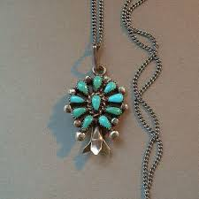 long turquoise pendant necklace images Shop vintage squash blossom necklace on wanelo jpg