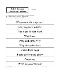 end punctuation worksheet worksheets