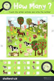 counting game farm animals preschool kids stock vector 637981381