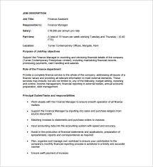 job description for financial assistant financial amitdhull co