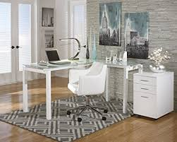nickel plated desk l amazon com baraga white l shape home office desk w swivel chair