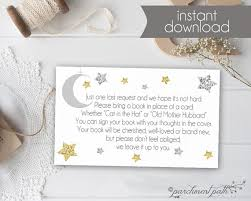 bring book instead of card to baby shower bring a book insert card twinkle twinkle baby shower
