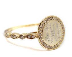 monogram ring gold gold monogram ring etsy