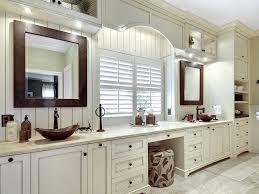 bathroom beige beadboard beadboard wall brown bathroom mirror