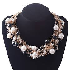 chunky pearl bib necklace images Tqs heirloom chunky cluster pearls multi strands bubble collar jpg