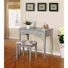 Linon Home Decor Vanity Set With Butterfly Bench Black Linon Home Decor 2 Silver Vanity Set 98135sil01 The Home Depot