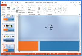 how to add math expressions and equations in powerpoint 2013