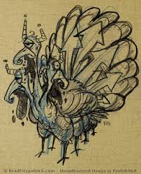 3 headed 8 legged turkey drawing
