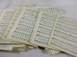 old sheet music 50 pages vintage hymn piano notes book antique