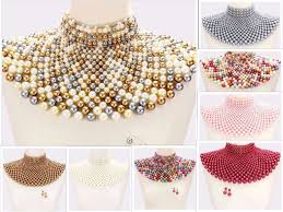 beaded collar necklace images Beaded bib collar necklace earrings egyptian pearl choker chain jpg