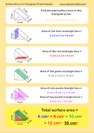 surface area of a triangular prism example tutoring pinterest