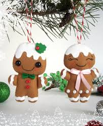 felt ornaments set of 2 gingerbread felt new year