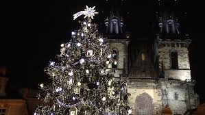 prague czech republic december 2013 shining christmas tree