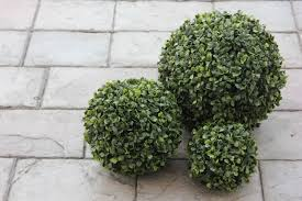 Topiary Balls With Flowers - one 6 inch faux boxwood topiary ball pomander long leaf shrub