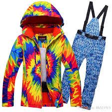 new women flower ski suit windproof waterproof skiing jacket pants